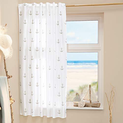 Delindo Lifestyle® Gardine Anker maritim, 1 Stück, verdeckte Schlaufen oder Kräuselband, modern weiß transparenter Vorhang, Schlaufenschal 140x175 cm