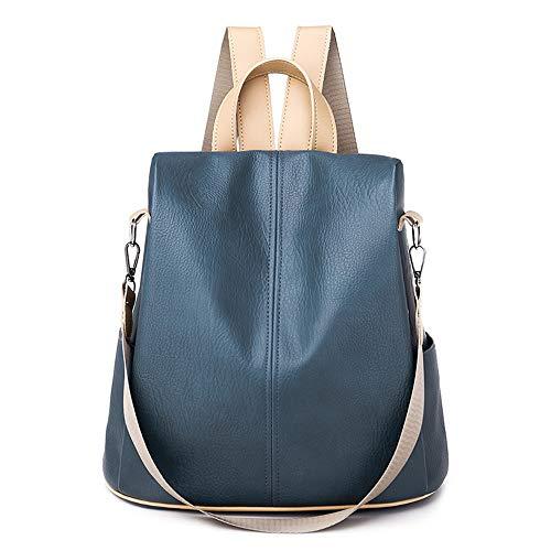 Mochila para mujer, antirrobo, casual, para mujer, mochila de hombro, azul (Azul / Patchwork), Talla única
