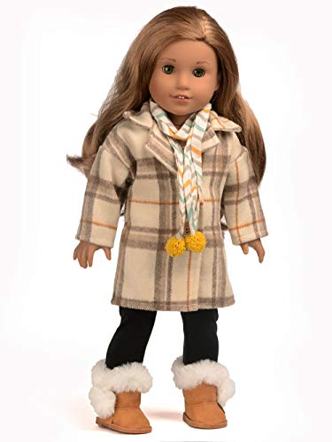 sweet dolly Doll Clothes Loose Long Plaid Coat Outfits Fits 18 Inch American Girl Doll