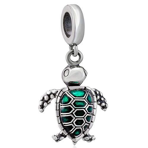 Abalorio de plata de ley 925 con diseño de tortuga marina, compatible...