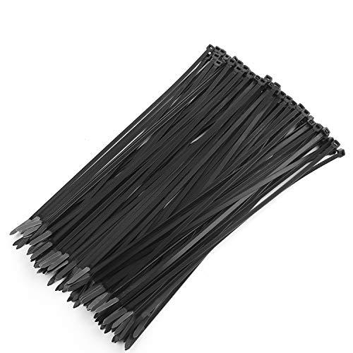 OAONAN Kabelbinder 100 Stück, 304 mm, äußerst stabile Kabelbinder aus Plastik mit 22 kg Zugfestigkeit, Mehrzweck-Kabelbinder für zu Hause, Büro, Garage, Werkstatt, strapazierfähig (schwarz)