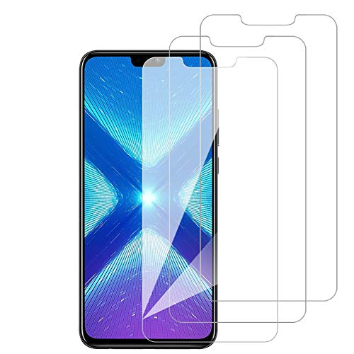 [3 Pack] Amonke Protector Pantalla para Huawei Honor 8X Cristal Vidrio Templado, Plana pero Incompleta Cobertura, 9H Dureza 2.5D curvo Borde Screen Protector para Huawei Honor 8X
