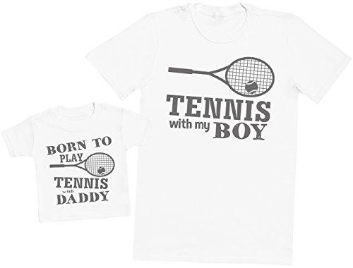 Zarlivia Clothing Born to Play Tennis with Daddy - Ensemble Père Bébé Cadeau - Hommes T-Shirt & T-Shirt bébé - Blanc - Large & 1-2 Ans
