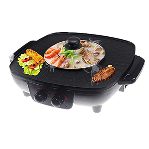 Hot Pot Coreano Barbecue Doppia Pentola Fornello Elettrico Monopezzo Pentola Elettrica Calda Elettrica Barbecue Teglia Elettrica 1700W [classe Energetica A],Black