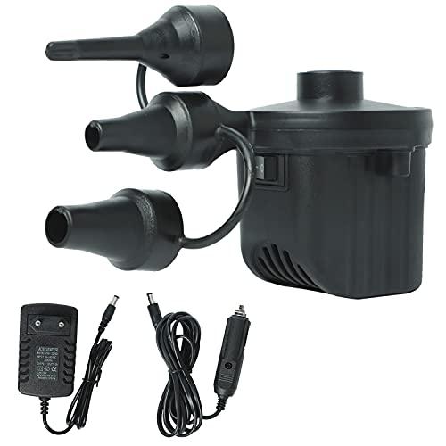Elektrische Luftpumpe, 2 in 1 Inflate und Deflate Luftpumpe mit 3 Luftdüse DC12V/AC110V-240V für aufblasbare Matratze, Sofa, Luftmatratze Pool, Boot, Schwimmring