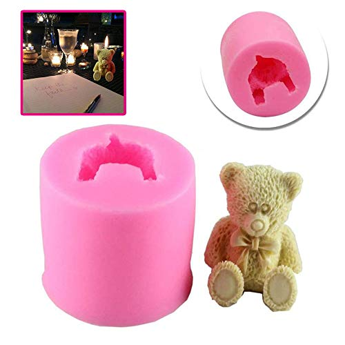 Teddy Bear Shape Silicone Candle Soap Making Mold Cake Decorating Fondant Chocolate Candy Baking Mould for Wedding Baby Shower Birthday Christmas Gift Party Decoration Handmade Craft DIY