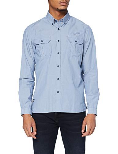 OxbOw M2CITEL Camisa de Vestir, Hombre, Azul Claro, Medium