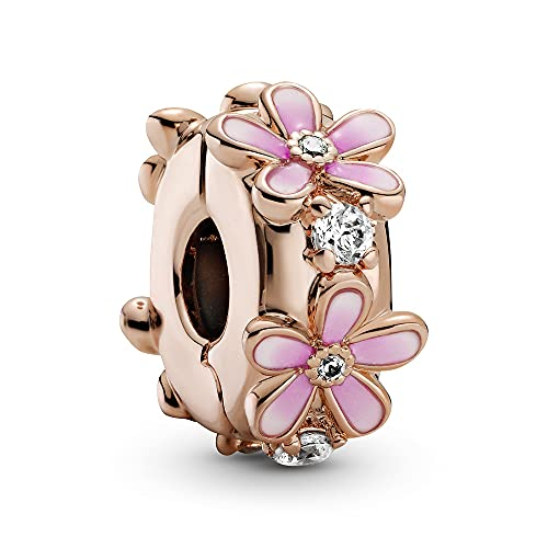 Annmors Pink Daisy Clip Charms 925 Sterling Silver Spacer with Cubic Zirconia para Pulseras