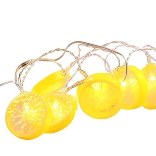 Cadena de luces de limón, 2 m, 10 luces LED de rebanada de limón, lámpara de frutas alimentada con pilas, decoraciones de verano para la cocina