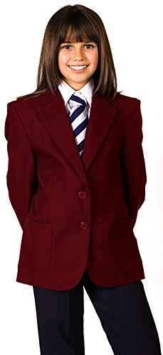CKL Blazer für Mädchen, Schuluniform, 100 % Polyester, Teflon-Beschichtung, wasserabweisend Gr. 3-4 Jahre, burgunderfarben
