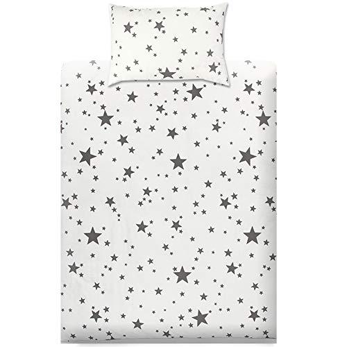 KEAYOO Parure de lit 100% Cotton Linge de lit pour bébé (40 x 60 Taie d'oreiller et Housse de Couette 100x135) (Étoile)