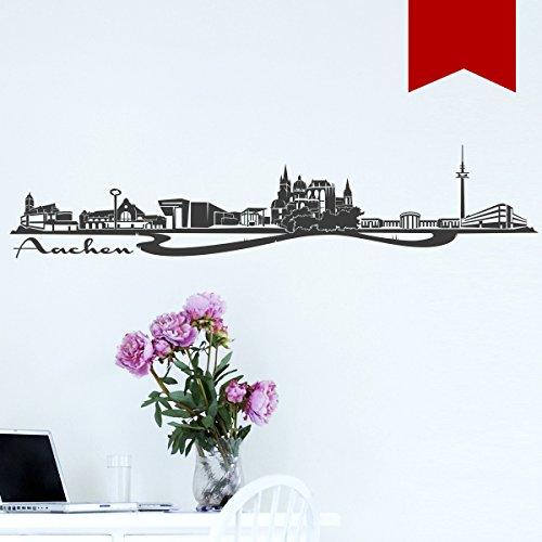 WANDKINGS Wandtattoo - Skyline Aachen - 115 x 24 cm - Rot - Wähle aus 6 Größen & 35 Farben