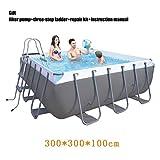 SHARESUN Marco de Metal Piscina Conjunto, 300X300X100cm, Marco de sobra la Tierra Piscina al Aire Libre con el Filtro de la Bomba y la Escalera, Piscina Inflable, un Parque acuático, Piscina Jardín