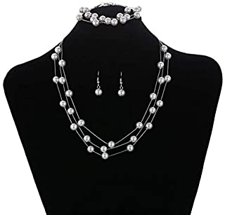 Faux Pearl Choker Layered Silver Necklace Earring Bracelet Jewelry Set for Women Girls Mother Bride Bridesnaids Wedding