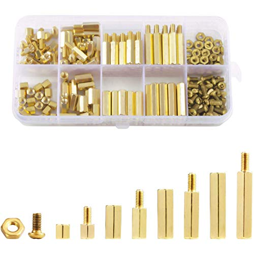 WIFUN 320 Pieces Hex Brass Spacer Standoff Screw Nut Assortment Kit, Male Female Hex Brass Spacer with Plastic Box for Machine Fix