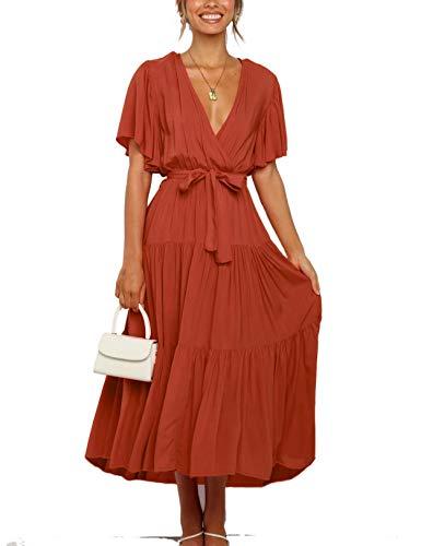 Vestido Casual de Verano para Mujer Vestidos Largos de cóctel con Cuello en V Profundo Óxido Rojo S