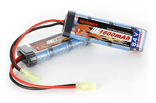 Tenergy Airsoft Battery 8.4V NiMH Battery Pack with Mini Tamiya Connector High Capacity 1600mAh Batteries for Airsoft Guns MP5, Scar, M249, M240B, M60, G36, M14, RPK, PKM (2-Pack)