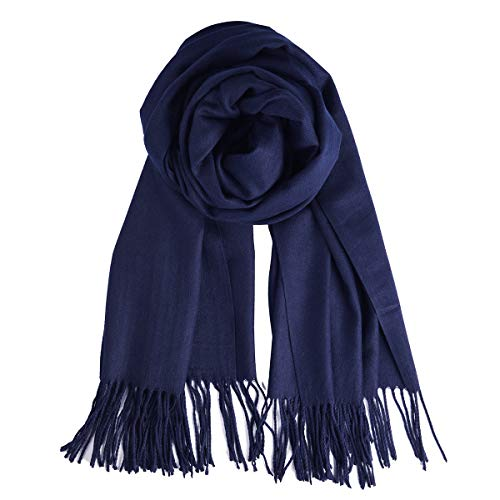QBSM Womens Large Soft Wedding Evening Navy Pashmina Shawls Wraps Scarfs for Christmas Gifts