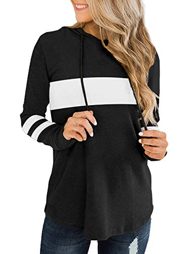 Trendy Queen Women's Casual Color Block Hoodie Sweatshirts Long Sleeve Stripe Print Warm Tunic Pullover Tops