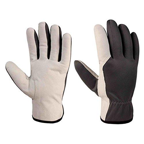 Xclou Arbeitshandschuhe in Schwarz/Weiß mit Leder-Verstärkung , Schutzhandschuhe XXL / Gr 11 mit Stulpe, Schutz-Handschuhe für Handwerker für Arbeit in Haus & für Hobby