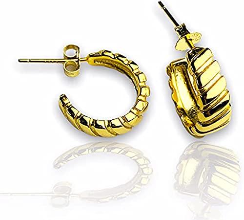 Pendiente de aro grueso de oro de 14 quilates de espesor, pendiente geométrico, pendiente de aro mediano, pendiente de aro minimalista, bohemio EB45, With Gift Box, dorado,