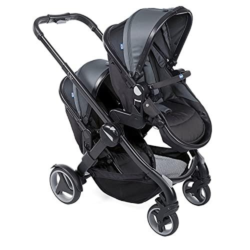 Chicco Fully Twin Doppelkinderwagen von 0 Monaten bis 15 kg, Umwandelbar in Zwillingskinderwagen, Doppelbuggy oder Doppelkinderwagen, mit 19 Konfigurationen, Klappbar, Sonnenverdeck