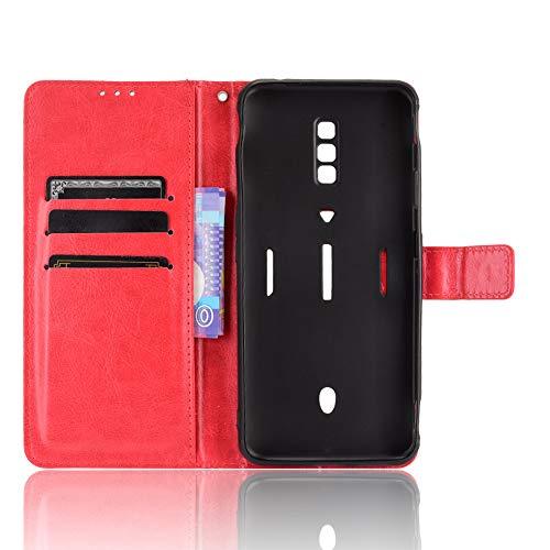 MingMing Lederhülle für ZTE Nubia Red Magic 6 Pro Hülle, Tasche Cover Etui Handyhülle für ZTE Nubia Red Magic 6 Pro, Rot