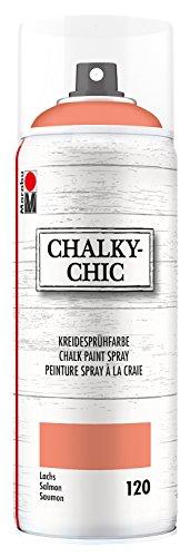 Marabu 02630018120 - Chalky Chic Spray, deckende, matte Kreidesprühfarbe auf Wasserbasis, für samtweiche Oberfläche auf Holz, Metall und Kunststoff, Used Look durch Anschleifen, 400 ml, lachs