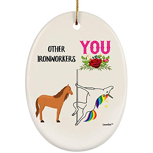 Lovesout Funny Best Ironworker Unicorn Congrats Ceramic Oval Ornament