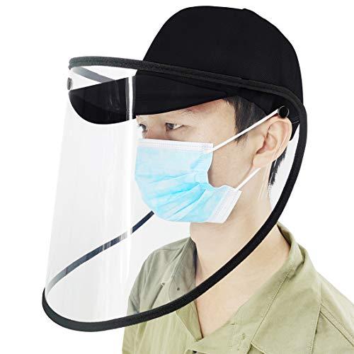Flycoo2 - Sombrero de protección de pantalla facial, transparente, antisaliva, antivaho, antiestornudos, antisalpicaduras (negro)