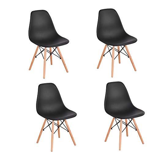 Juego de 4 sillas de comedor, con patas de madera de haya, para restaurante y oficina, negras