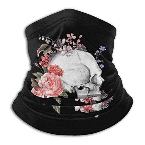 Skull with Roses Sugar Skull Unisex Microfiber Neck Warmer Headwear Face Scarf Mask For Winter Cold Weather Mask Bandana Balaclava