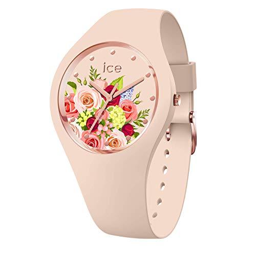 Ice-Watch - ICE flower Pink bouquet - Rosa Damenuhr mit Silikonarmband - 017583 (Medium)
