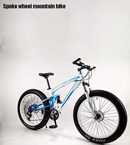 ZGYQGOO Adulti Fat Tire Mountain Bike, Biciclette da Neve, Doppio Freno a Disco Beach Cruiser Bikes, all-Terrain Sospensione Biciclette, 4,0 Ampio 26 Pollici Ruote