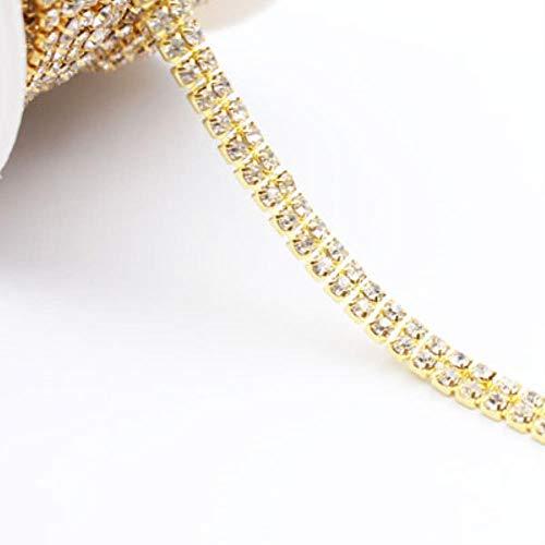 Strass-ketting 1Yard 2 strengen stenen ketting van glanzende kristallen en strass-steentjes ketting klauwen lijm met strass voor strass