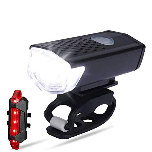Juego de luces LED para bicicleta, recargables, luces delanteras de bicicleta y luz trasera de 100LM con 300LM impermeable 360 grados de visibilidad, 3 modos de iluminación ajustables, para bicicleta