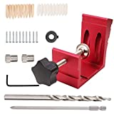 850 Pocket Hole Jig with Built-in Clamp,SWMIUSK 15 Degree Inclined Hole Positioner with Pocket Hole Plugs Step Drill Bit Pocket Jig Kit the Woodworking Punch Locator Simple Tools (Red)