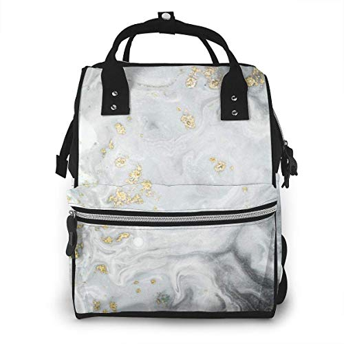 UUwant Sac à Dos à Couches pour Maman Natural Luxury Style Incorporates The Swirls of Marble Or Ripples Agate for A Effect Large Capacity Diaper Backpack Travel Nappy Bags Mummy Backpackor Trav