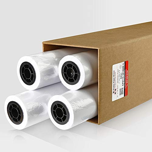 PlotterPaperDirect CAD Paper Rolls, 36'' x 150' (4 Pack), 20 lb. Uncoated 96 Bright White Paper on a 2'' Core, 75 GSM Plotter Paper For Engineers, Architects, Copy Service Shops w/ Inkjet Printers