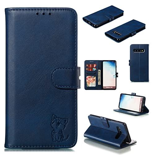 Teléfono Flip Funda For Samsung Galaxy S10 Cuero lindo cartera de cartera, cubierta de teléfono móvil UITRA-Thin Design Flip Protective Funda [Titular de la tarjeta de crédito Slot] Tapa trasera del t