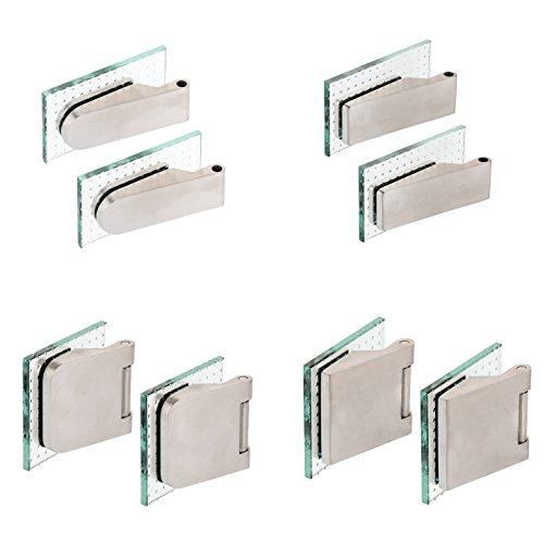 Glastürband Paar Edelstahl matt Glastürbeschlag Studiobohrung Officebohrung Glastürbänder Glastürscharnier (2-TLG. Bänder rund - Edelstahloptik)