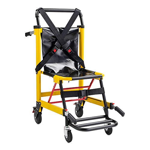 LINE2design EMS Stair Chair 70002-Y Medical Emergency Patient Transfer - 4 Wheel Deluxe Evacuation Chair - Ambulance Transport Folding Stair Chair Lift - Load Capacity: 400 lb. Yellow
