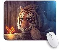 HASENCIV ゲーミング マウスパッド,タイガーアニマルバタフライホタルフォレストナイトシーナリープリント,マウスパッド レーザー&光学マウス対応 マウスパッド おしゃれ ゲームおよびオフィス用 滑り止め 防水 PC ラップトップ