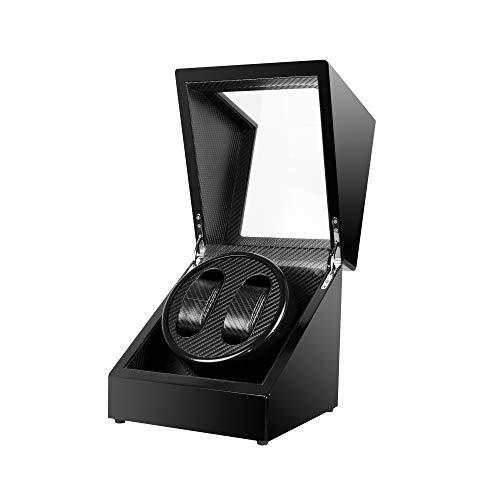 Automatik Uhrenbeweger für 2 Uhren Automatikuhren Kalawen Watch Winder Mute für 2 Uhren Luxuriöser Automatische Uhrendreher Holz Aufbewahrung Uhrenvitrine mit Batteriebetrieb oder Netztei Schwarz