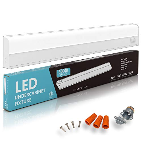 """Hardwired LED Under Cabinet Task Lighting - 16 Watt, 24"""", Dimmable, CRI>90, 5000K (Day Light), Wide Body, Long Lasting Metal Base with Frost Lens' /></a></td> <td class="""