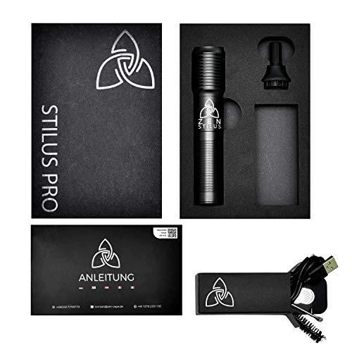 ZEN Vaporizers ® - Stilus Pro conductie vape pen, kruiden vaporizer met display, USB, glazen mondstuk, vervangbaar batterijvak, nicotinevrij