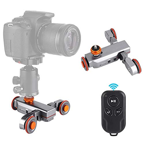 Topiky Auto Dolly Track Slider, mini-3-voudig verstelbare, gemotoriseerde Cine Dollies-auto met afstandsbediening voor DSLR-camera, smartphone laadvermogen 3 kg