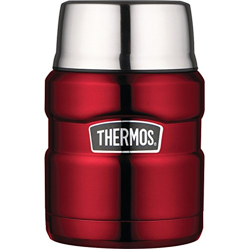 THERMOS Stainless King 16 Ounce Food Jar with Folding Spoon, Cranberry