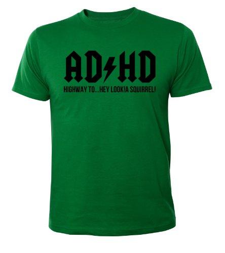Mister Merchandise Cooles Herren T-Shirt ADHD ADHS ACDC, Größe: XXL, Farbe: Grün