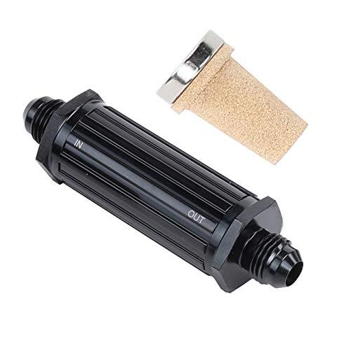 8AN - Filtro de combustible de entrada (latón, 150 micrones de aluminio, 8 AN a 8 AN macho, adaptador de manguera integrada), color negro
